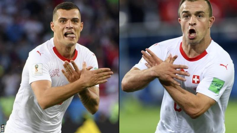 Džaka i Šaćiri pokazuju orla u utakmici protiv Srbije na svetskom prvenstvu u Rusiji