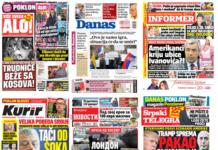 Naslovne strane dnevne štampe 19-26. novembar 2018.