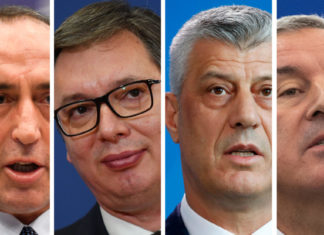 POLITICO spoke to three men who will determine how things play out — Haradinaj, Vučic and Thaçi — as well as Montenegrin President Milo Ðukanović (left to right) | Source images via EPA, Getty Images and Consilium