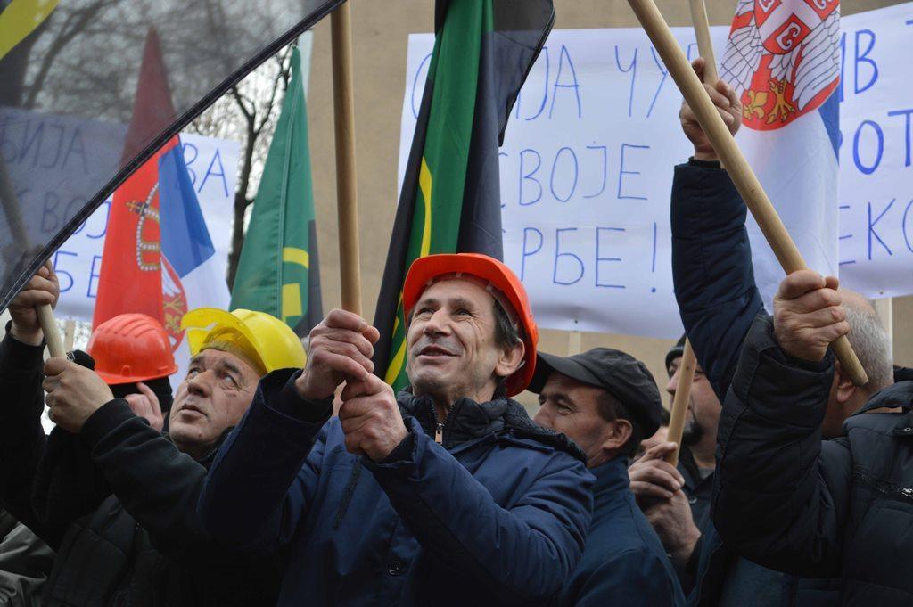 Protest KoSSev Trepča rudar