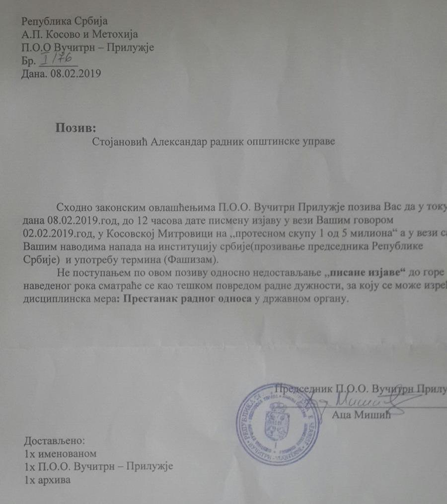 pretnja otkazom aleksandar stojanović