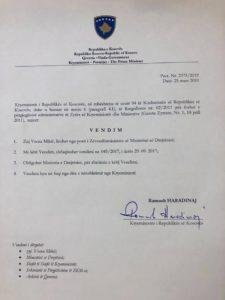Odluka Vesna Mikić Haradinaj ostavka, otkaz