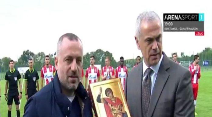 predsednik Fudbalskog saveza Kosova i Metohije Milan Radojičić i generalni direktor Crvene zvezde Zvezdan Terzić