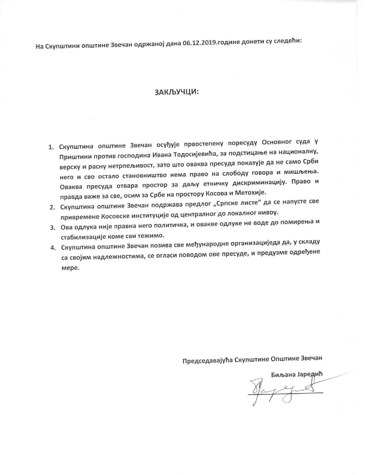 Zaključi opštine Zvečan