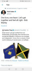 Petrit Seljimi zahvalnost Jamajka