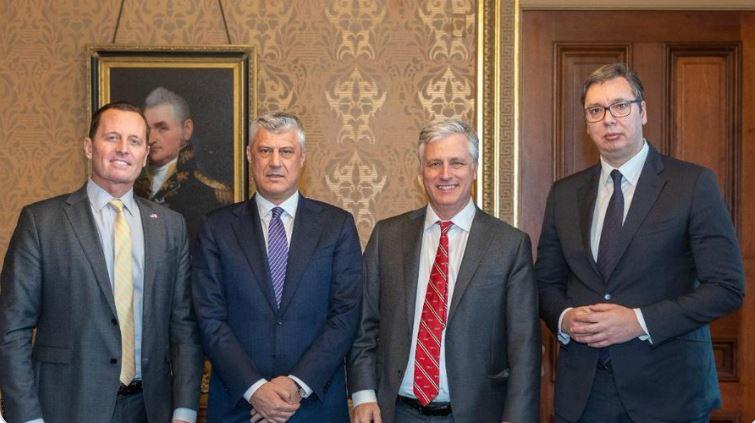 FOTO: Ričard Grenel, Hašim Tači, Robert Obrajen (O'Brian), Aleksandar Vučić/ NSA Tviter nalog