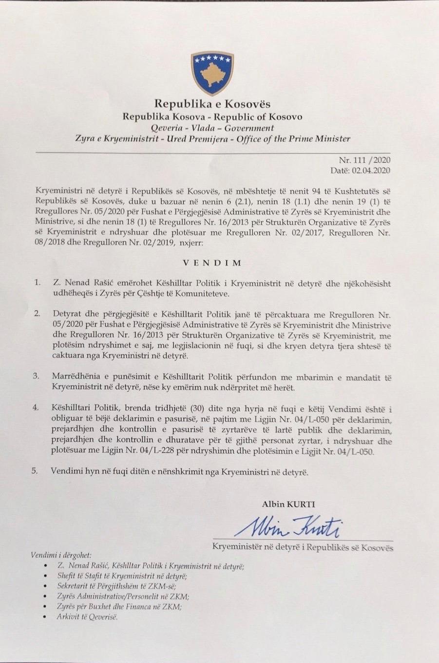 Odluka kosovskog premijeraa