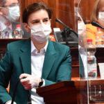 Ana Brnabić tokom prvog skupštinskog zasedanja od proglašenja vanrednog stanja zbog koronavirusa Foto Srđan Ilić